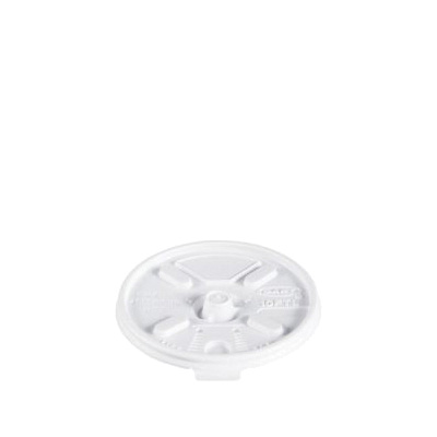 Picture of DART 10FTL Lift 'n Lock Lid, Polystyrene, White, For: Dart Foam Cups, Containers