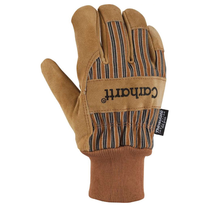 Picture of Carhartt A512-BRN-L Insulated Work Gloves, Men's, L, Knit Wrist Cuff, Cotton/Cowhide Suede, Brown