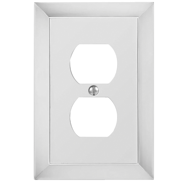 Picture of AmerTac 61DCH Duplex Receptacle Wall Plate, 5 in L, 3-1/2 in W, 1-Gang, Metal, Chrome