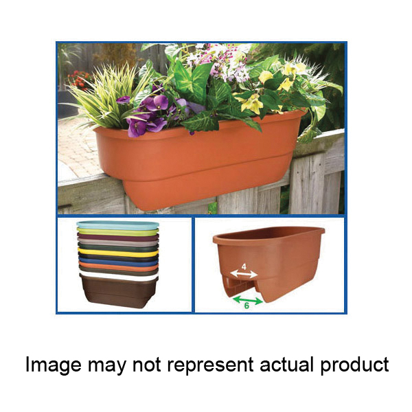 Picture of Apollo Exports A34 AP5720B Dual Deck Railing Planter, 11 in W, 24 in D, Rectangular, Polypropylene, Black
