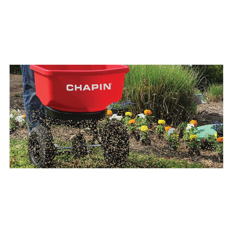 Picture of CHAPIN 82080 Turf Spreader, 100 in W Spread, 80 lb Hopper, Stainless Steel Frame, Red Hopper, Pneumatic Wheel