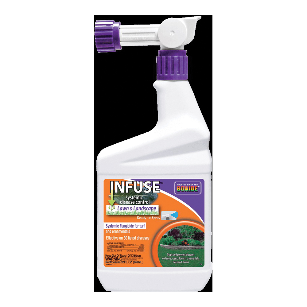 Picture of Bonide Infuse B70 150 RTS Lawn and Landscape Fungicide, Liquid, Latex, Yellow, 1 qt Package, Container