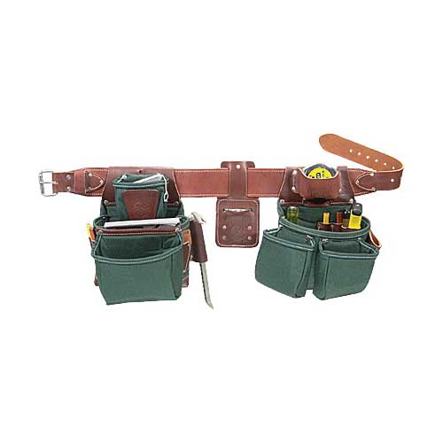 Picture of Occidental Leather 8080DB XL Framer Tool Belt Set, 40 to 44 in Waist, Leather/Nylon, Brown/Green, 21 -Pocket
