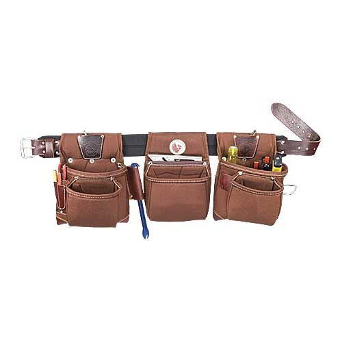 Picture of Occidental Leather 8385 LG Tool Belt Set, 36 to 39 in Waist, Leather/Nylon, Black/Brown, 20 -Pocket