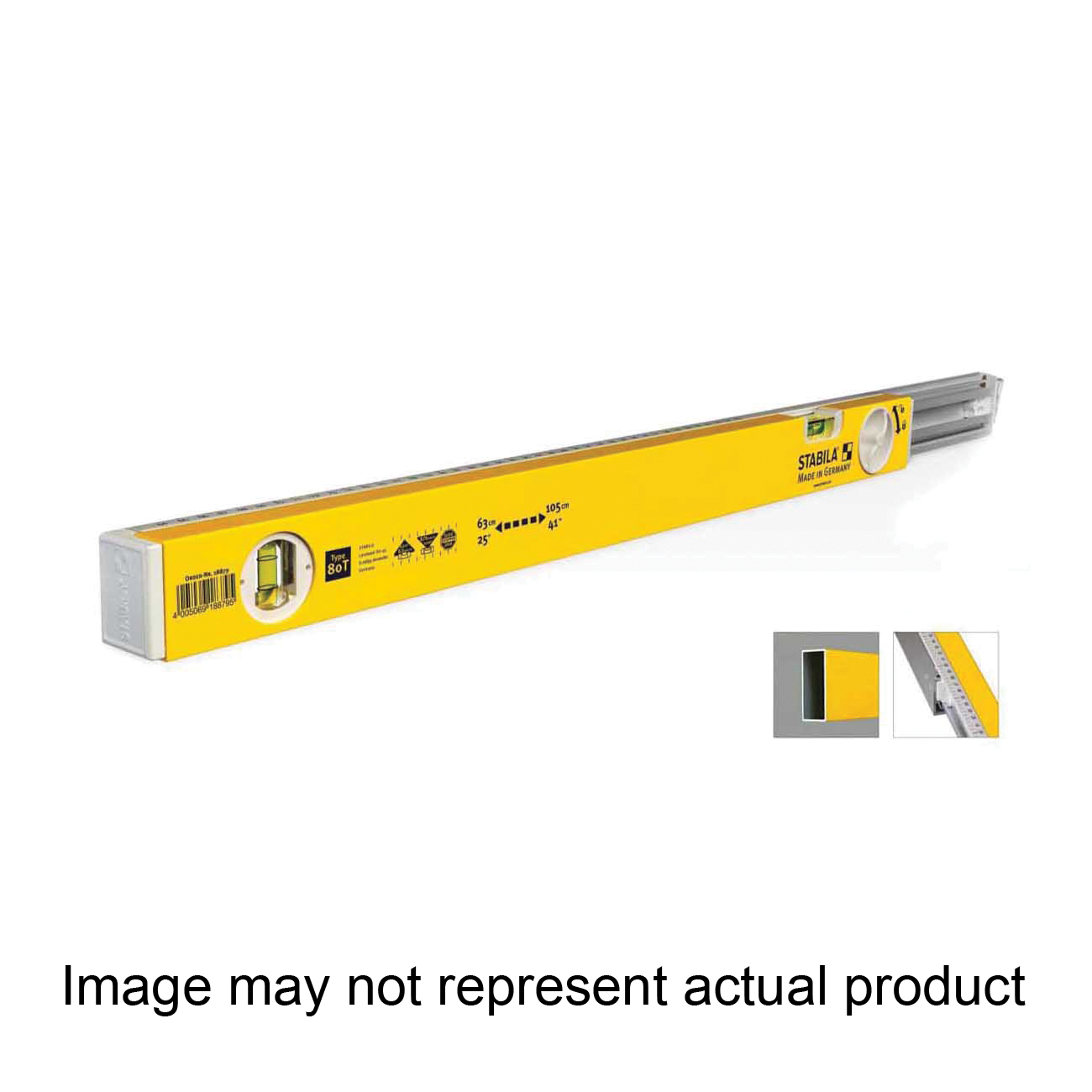 Picture of Stabila 29459 Extendable Level, 36 in L, 2 -Vial, Aluminum, Yellow/White