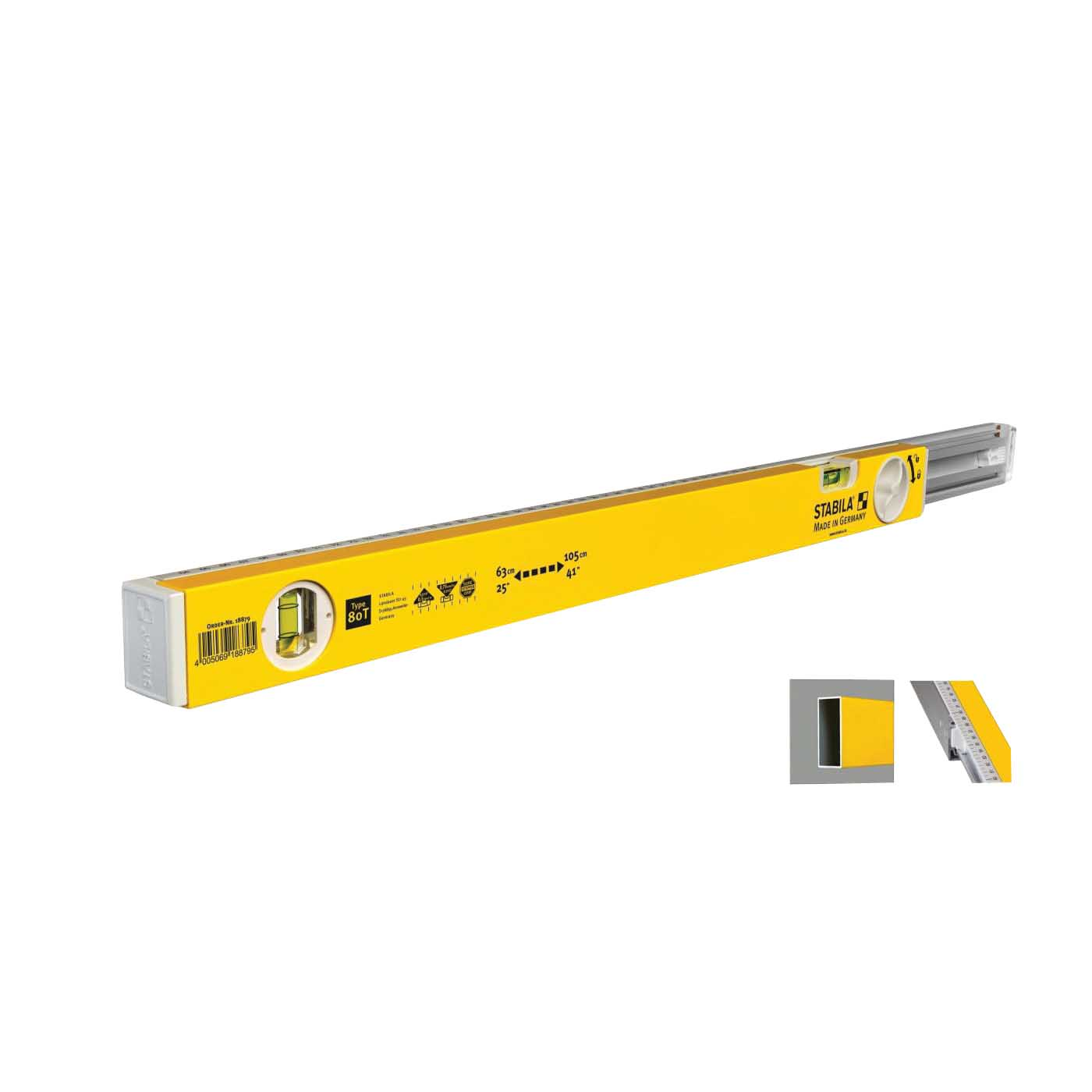 Picture of Stabila 29441 Extendable Level, 25 in L, 2 -Vial, Aluminum, Yellow/White