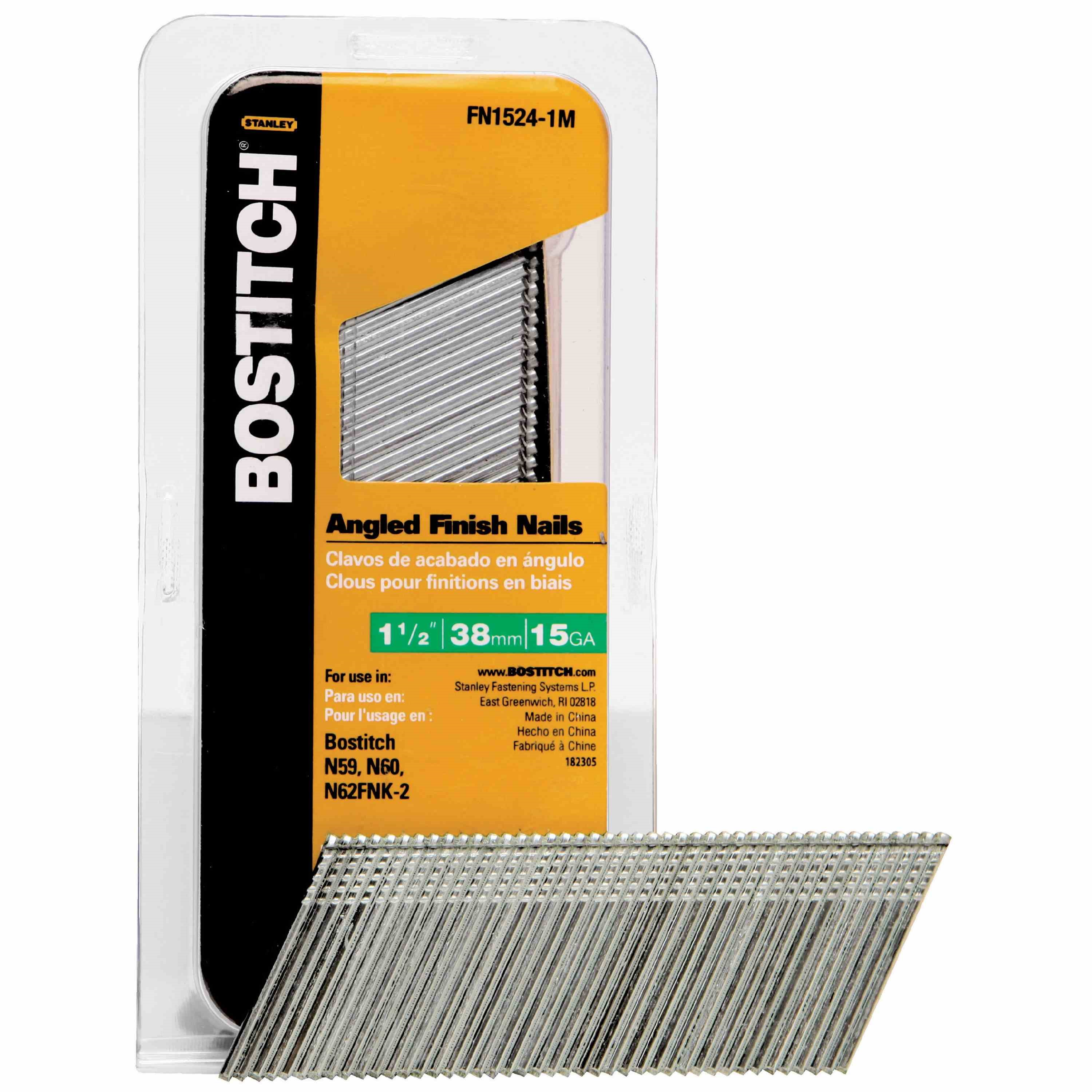 Picture of Bostitch FN1524-1M Finish Nail, 1-1/2 in L, 15 ga Gauge, Steel, Bright, Flat Head, Smooth Shank, 1000