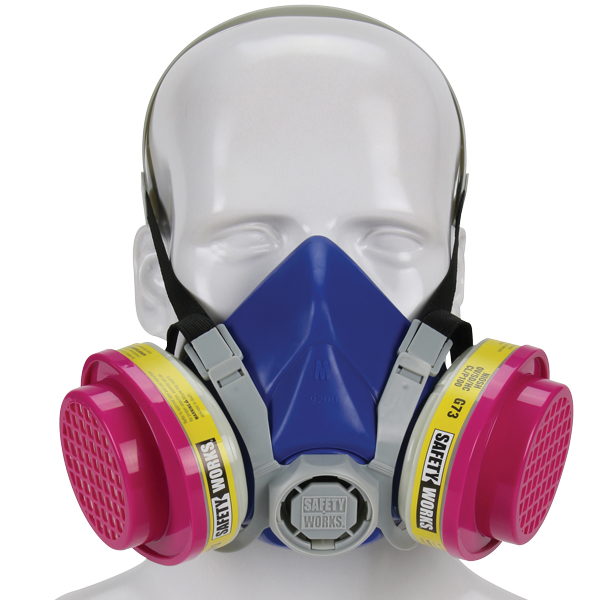 Picture of SAFETY WORKS SWX00320 Half Mask Respirator, M Mask, 99.97 % Filter Efficiency, Blue