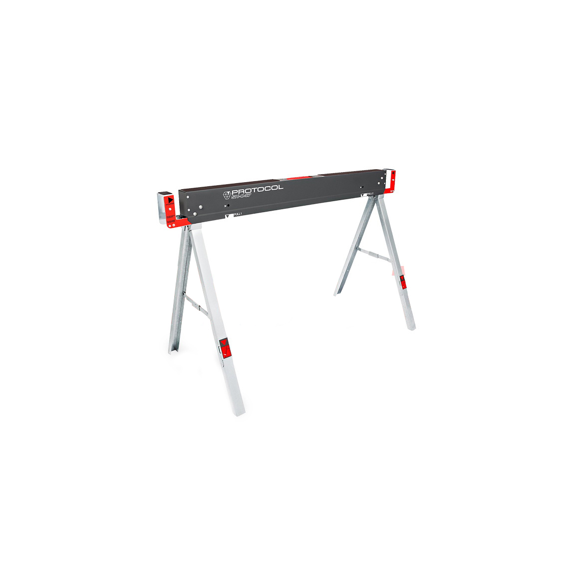 Picture of PROTOCOL 67103 Folding Sawhorse, 1100 lb, 22-1/4 in W, 30 in H, Steel