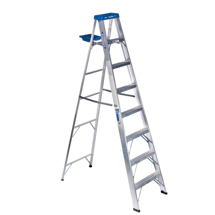 Picture of WERNER 360 Series 368 Step Ladder, 12 ft Max Reach H, 8-Step, 250 lb, Type I Duty Rating, Aluminum