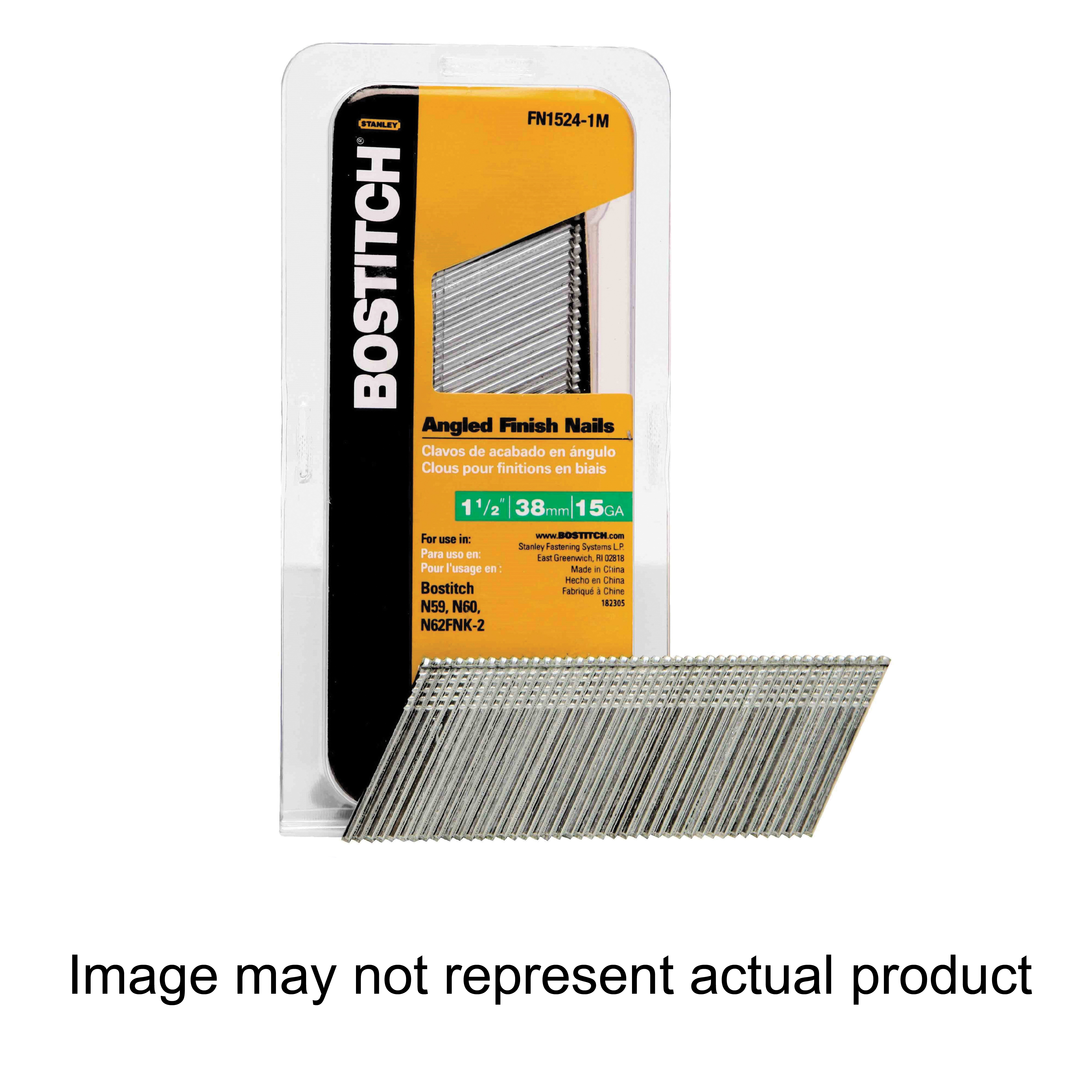 Picture of Bostitch FN1524-1MSS Pneumatic Finish Nail, 1-1/2 in L, 15 ga Gauge, Steel, 1000