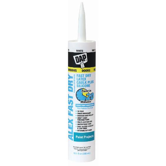 Picture of DAP 18425 Acrylic Latex Caulk, White, 24 hr Curing, 10.1 fl-oz Package, Cartridge
