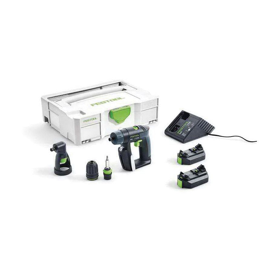 Picture of Festool 564535 Cordless Drill, Kit, 10.8 V Battery, 2.6 Ah, 15/32 in Wood, 5/16 in Steel Drilling, 3/8 in Chuck