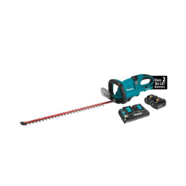 Picture of Makita XHU04PT Hedge Trimmer Kit, 5 Ah, 36 V Battery, Lithium-Ion Battery, 25-1/2 in Blade, 6 -Speed