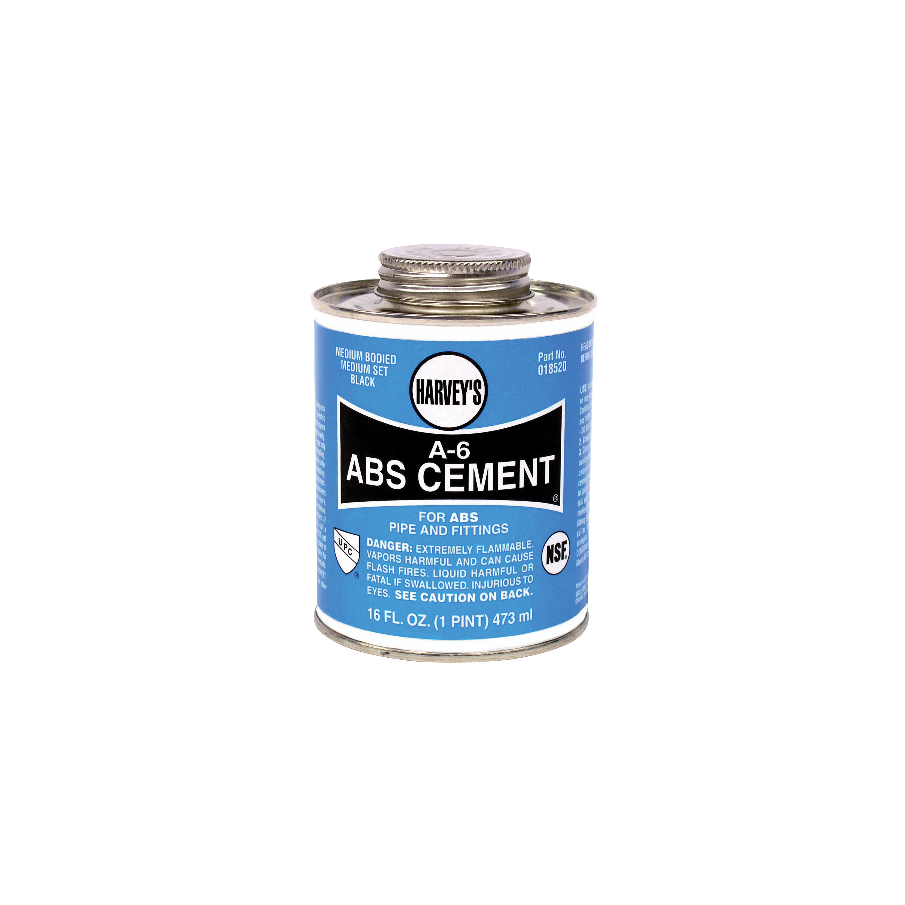 Picture of HARVEY A-6 Series 018520-12 Solvent Cement, Opaque Liquid, Black, 16 oz Package, Can