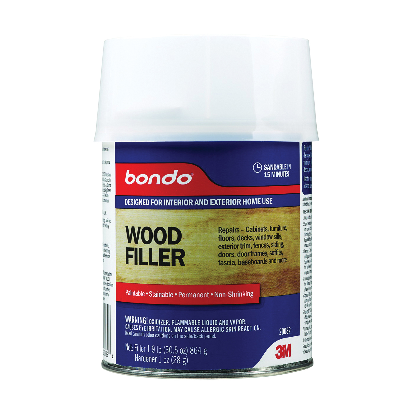 Picture of Bondo 20082 Wood Filler, Paste, Pungent Styrene, Yellow, 1 qt Package, Can