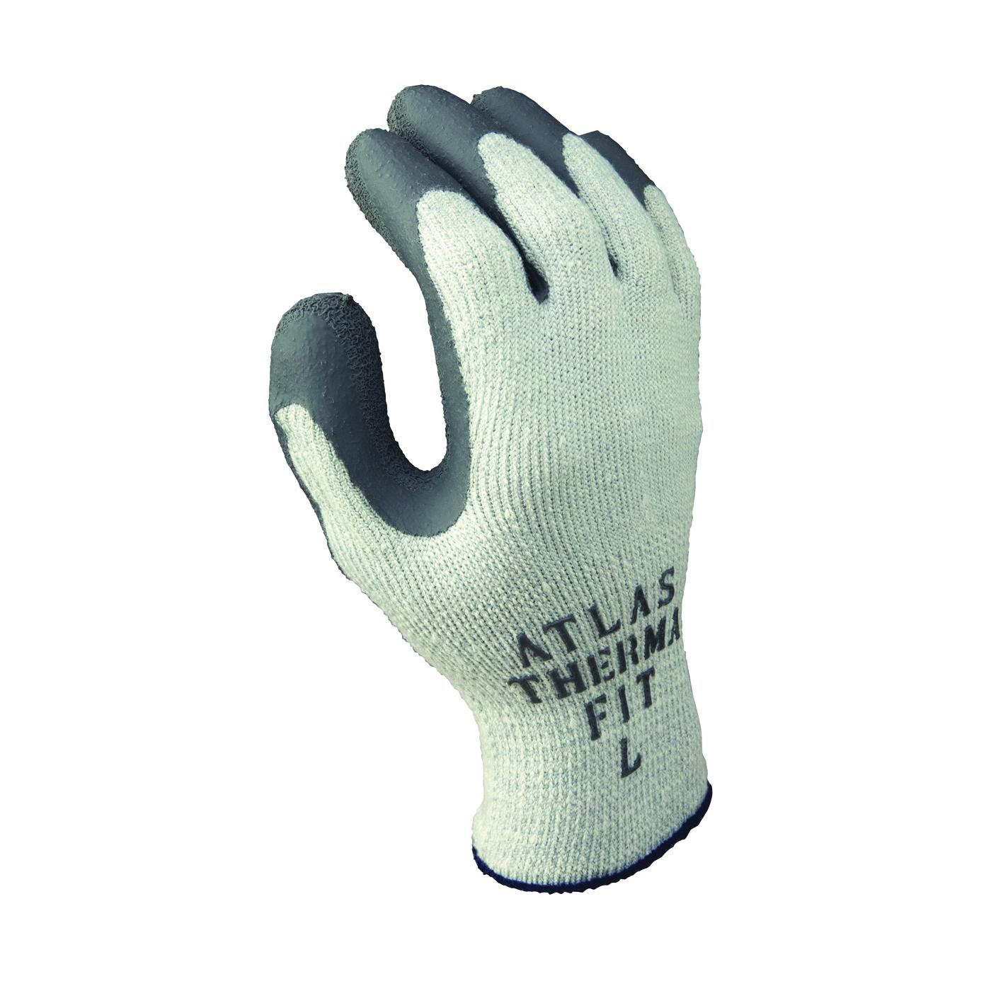 Picture of ATLAS ThermaFit 451L-09.RT Ergonomic Work Gloves, Unisex, L, 9 in L, Knit Wrist Cuff, Rubber, Dark Gray