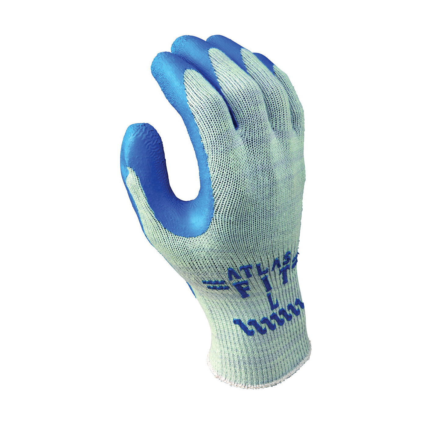 Picture of ATLAS 300L-09.RT Industrial Gloves, L, Knit Wrist Cuff, Natural Rubber Coating, Blue/Light Gray