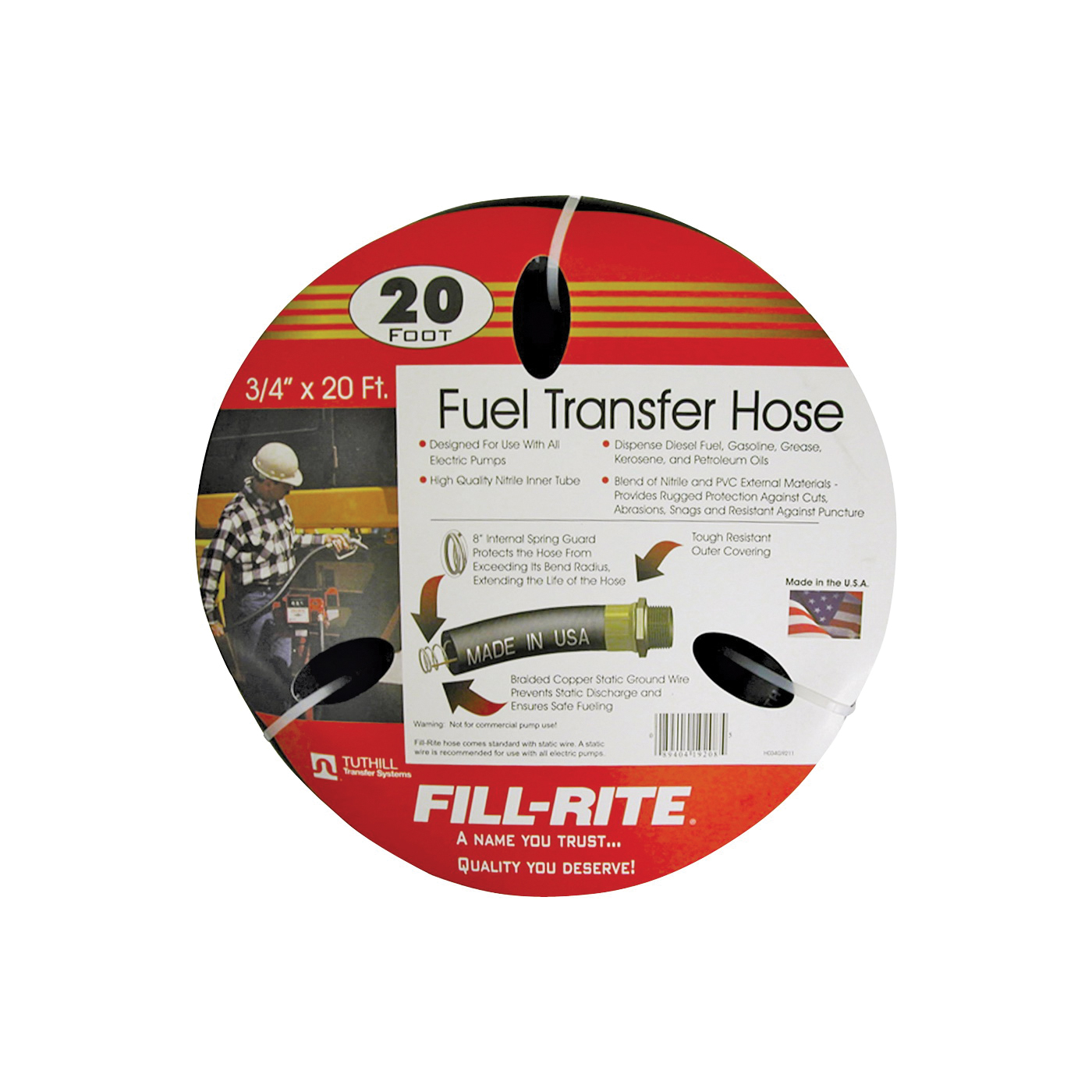 Picture of Fill-Rite FRH07520 Fuel Transfer Hose, 20 ft L, Neoprene, Black