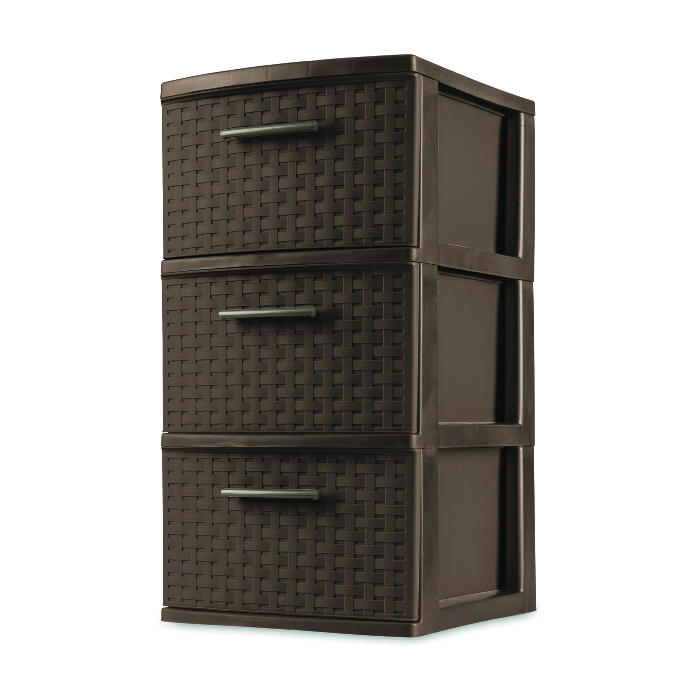 Picture of Sterilite 26306P02 Drawer Tower, 3-Drawer, Plastic Drawer, Espresso Drawer, 15 in OAL, 12-5/8 in OAW, 24 in OAD