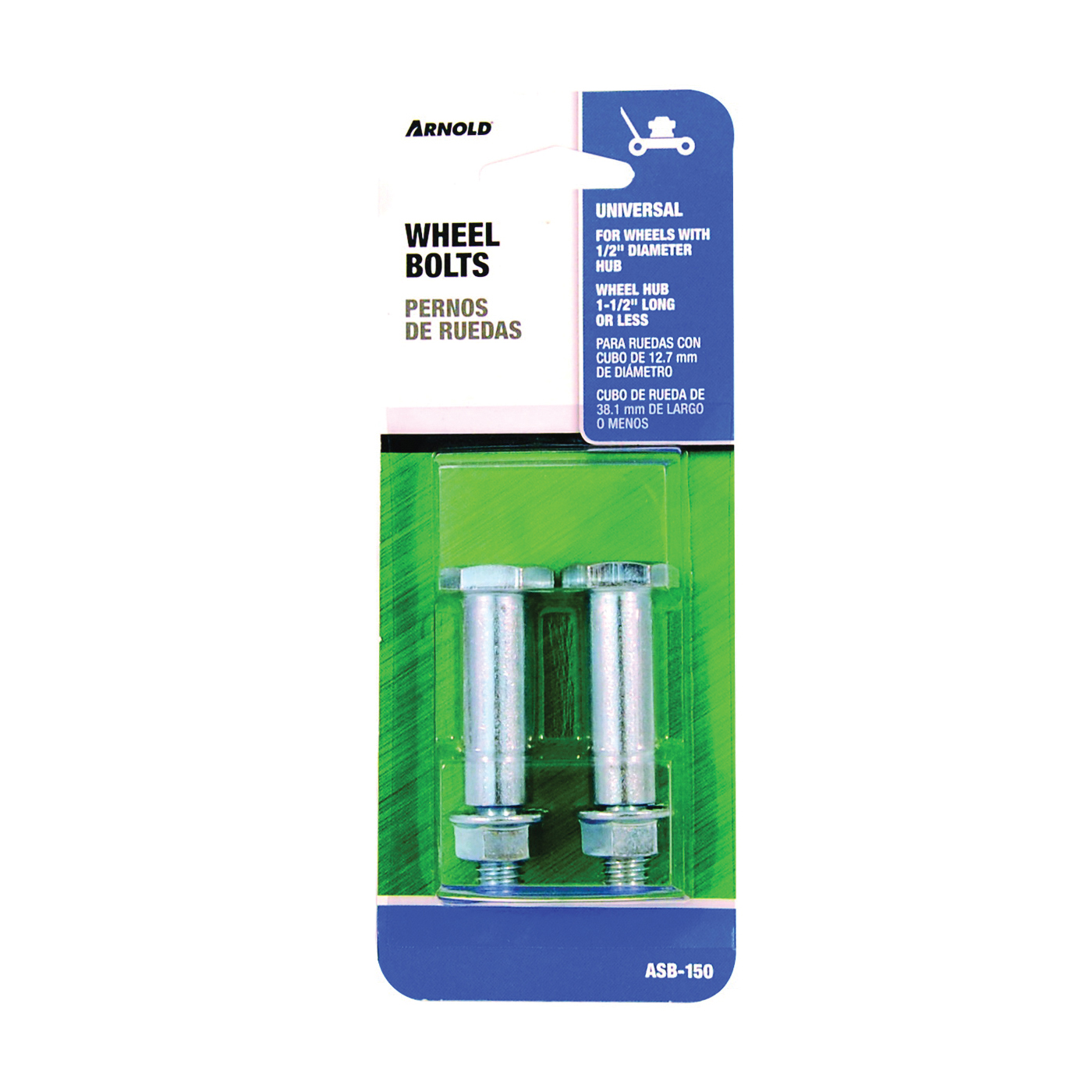 Picture of ARNOLD ASB-150 Wheel Bolt, Universal, Steel, For: Wheels with 1/2 in Dia Bore and Hub Width of 1 1/2 in or Less