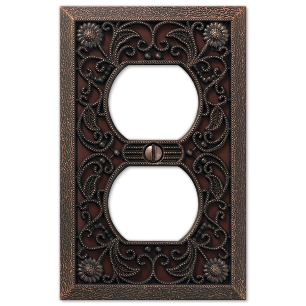 Picture of Amerelle 65DDB Wallplate, 4-1/2 in L, 2-13/16 in W, 1-Gang, Metal, Aged Bronze