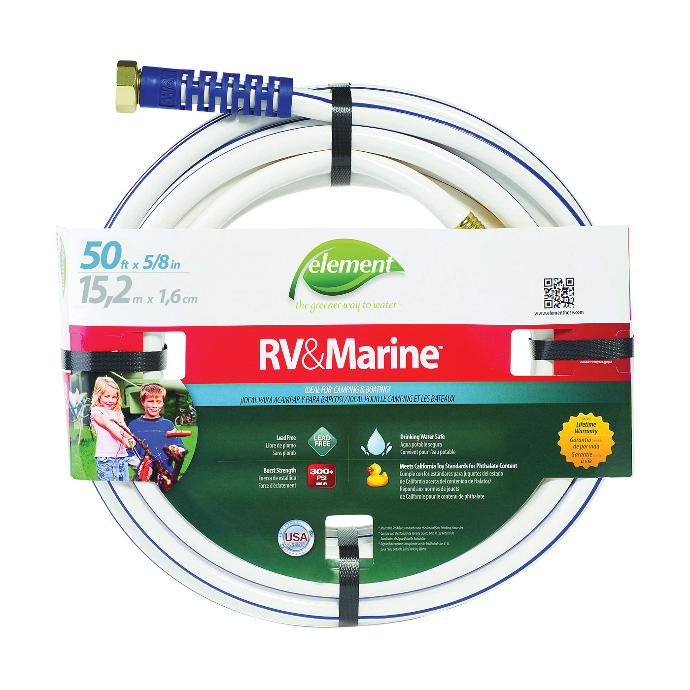 Picture of SWAN MRV58050 Water Hose, 5/8 in ID, 50 ft L, White