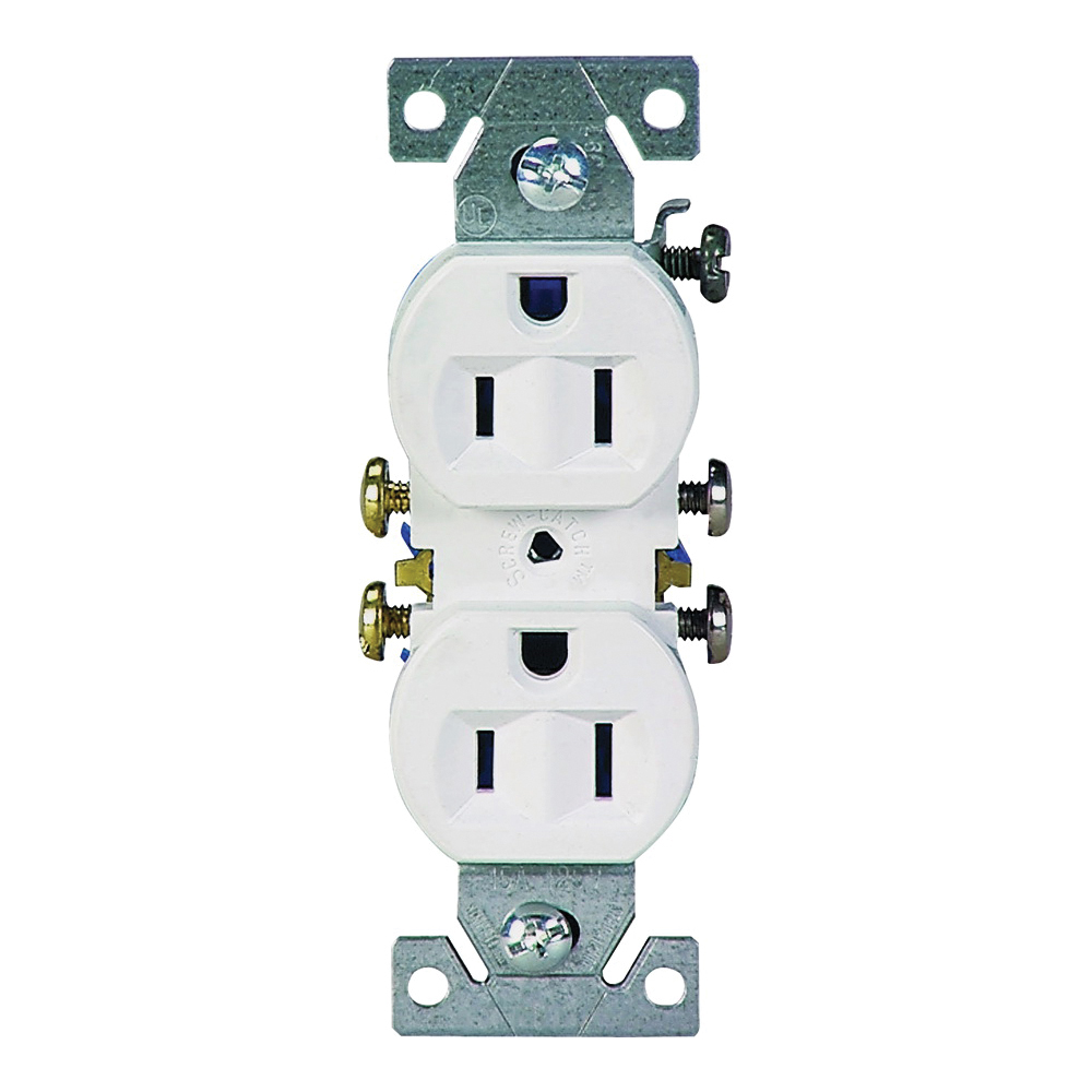 Picture of Eaton Wiring Devices 270W/10 Duplex Receptacle, 2-Pole, 15 A, 125 V, Push-in, Side Wiring, NEMA: 5-15R, White