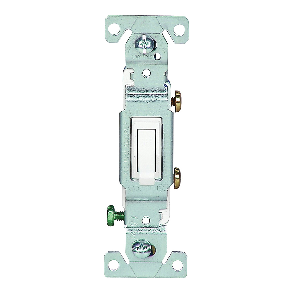 Picture of Eaton Wiring Devices C1301-7W Toggle Switch, 15 A, 120 V, Push-In Terminal, 5-20R, Polycarbonate Housing Material