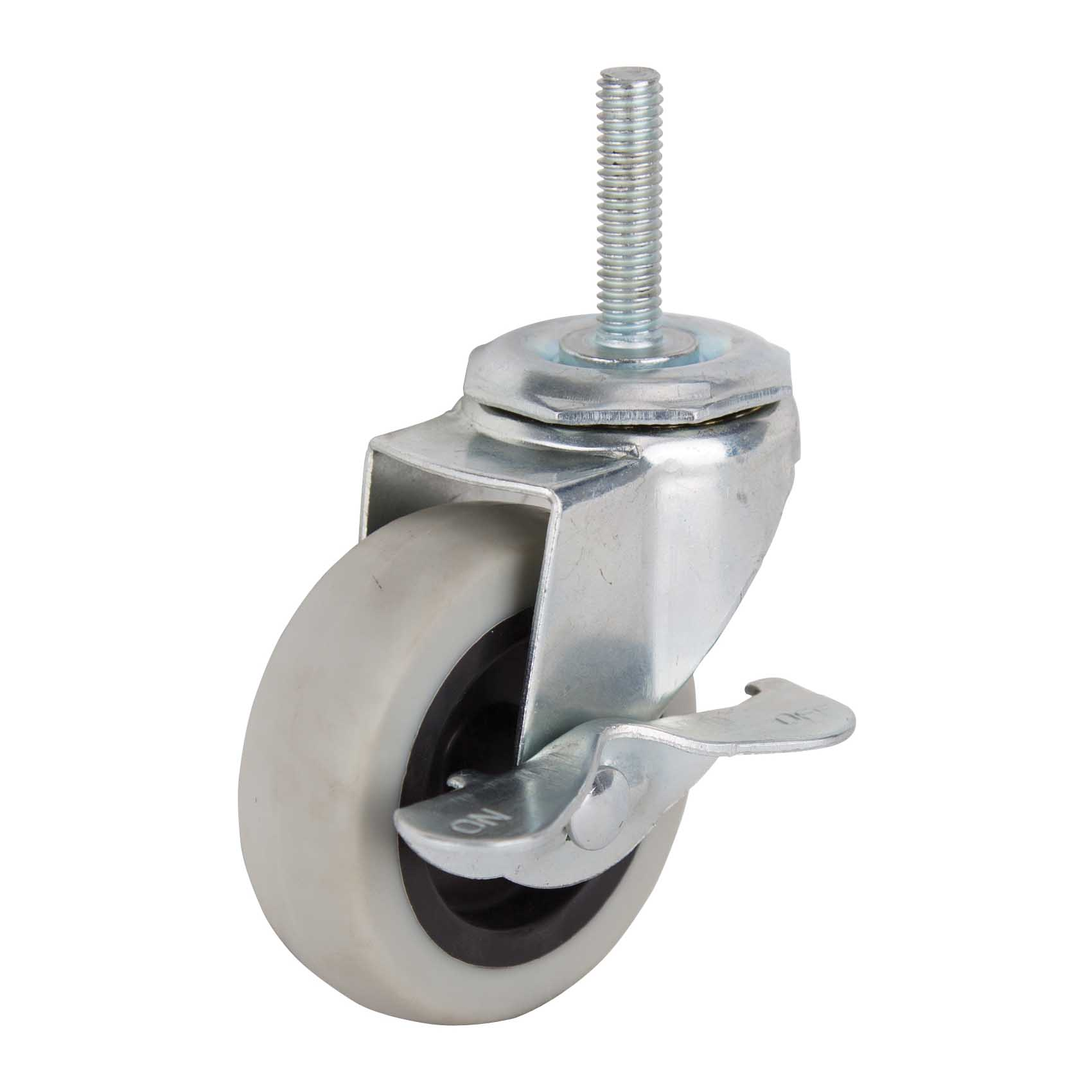 Picture of ProSource JC-N08-G Swivel Caster with Brake, 3 in Dia Wheel, Thermoplastic Rubber Wheel, Gray, 130 lb
