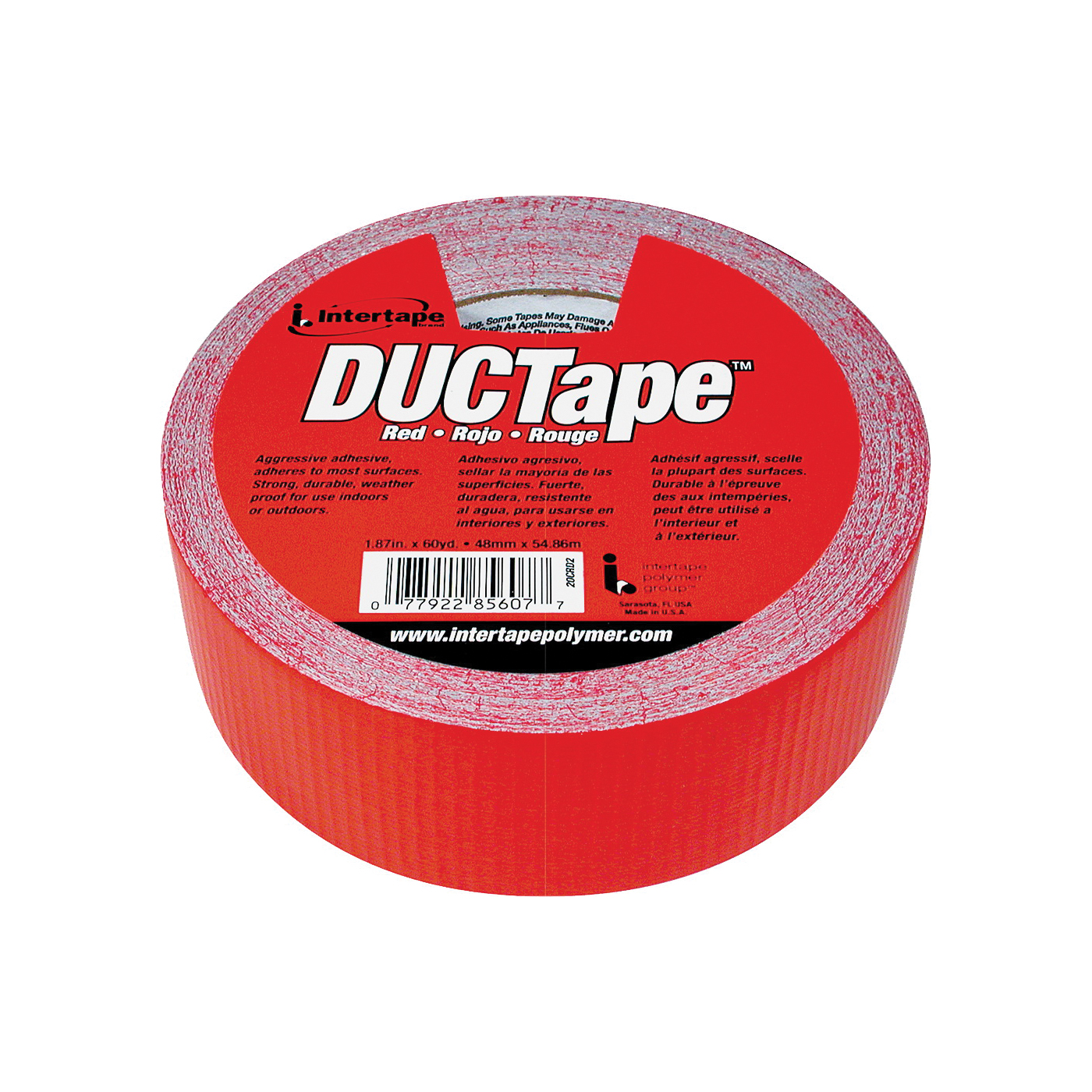 Picture of IPG 20C-R2 Duct Tape, 60 yd L, 1.88 in W, Polyethylene-Coated Cloth Backing, Red