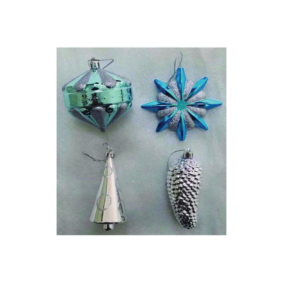 Picture of Holidaybasix ET-30285 Christmas Ornament Assortment, Blue/Silver