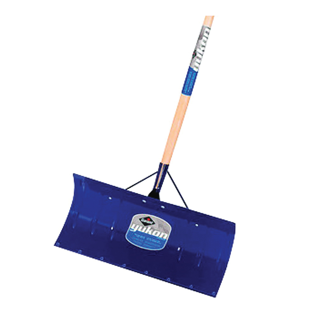 Picture of GARANT YSP24LU Snow Pusher, 24 in W Blade, Steel Blade, Wood Handle, Straight Handle, 48 in L Handle, Blue