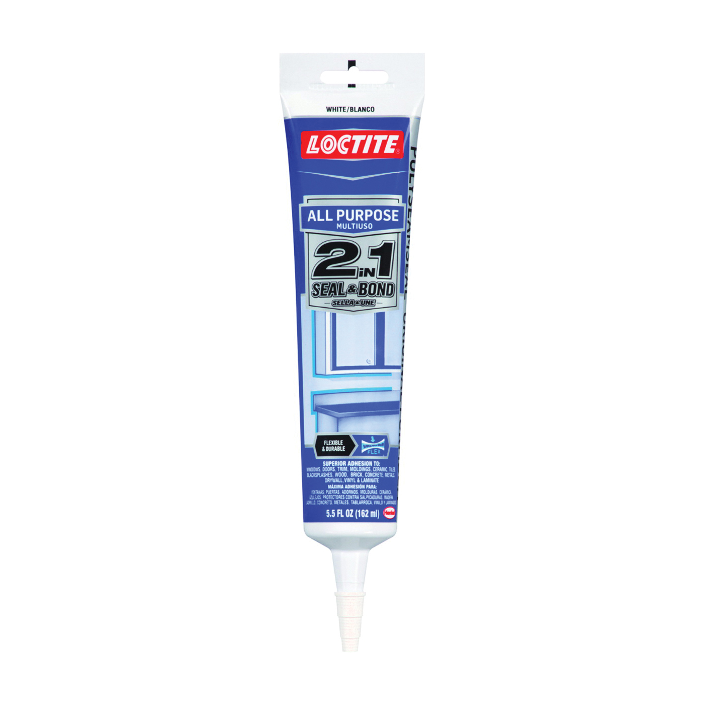 Picture of Loctite POLYSEAMSEAL 2139006 Adhesive Caulk, White, 24 hr to 2 weeks Curing, 40 to 100 deg F, 5.5 oz Package