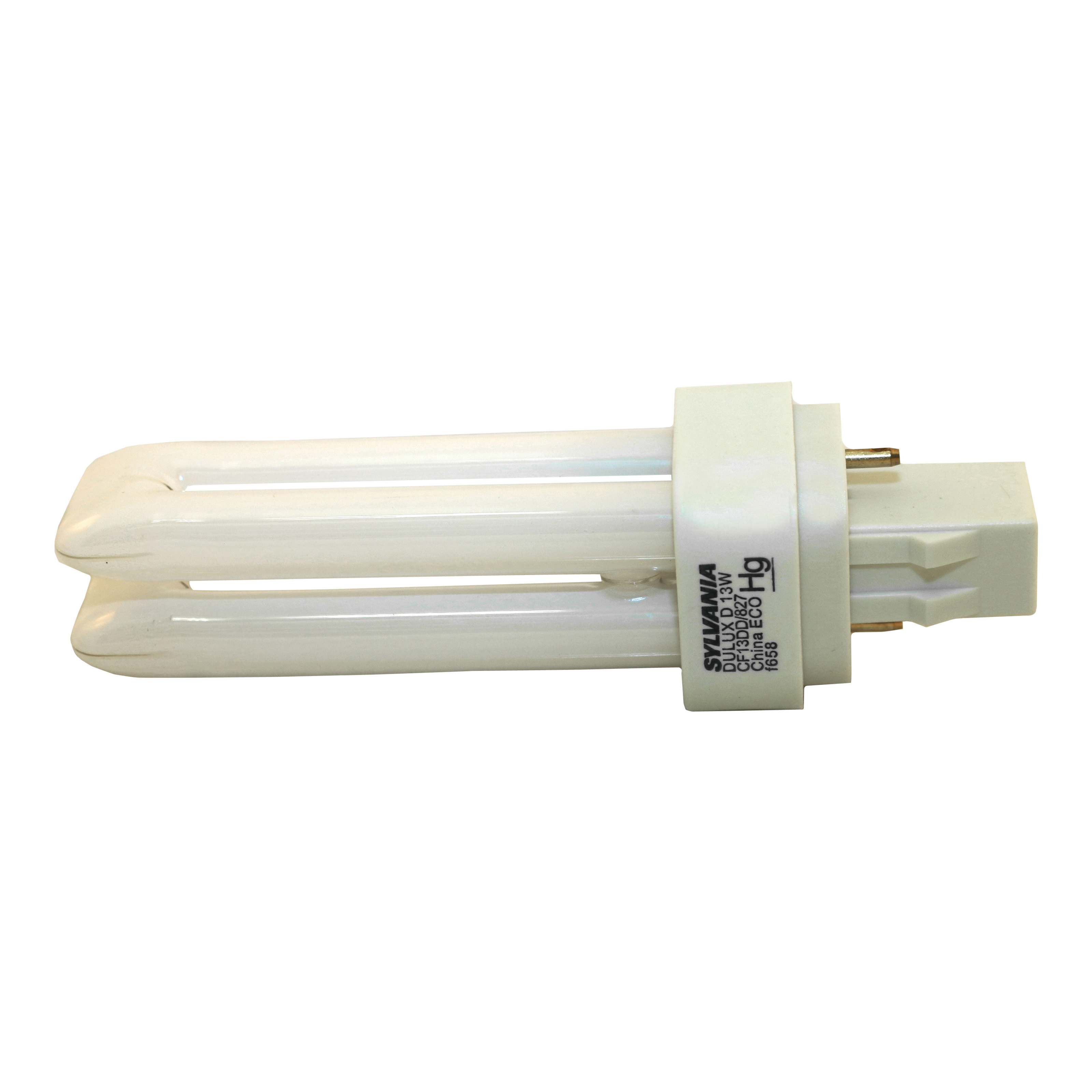 Picture of Sylvania 20480 Compact Fluorescent Bulb, 13 W, T4 Lamp, GX23 Lamp Base, 671 Lumens, 2700 K Color Temp