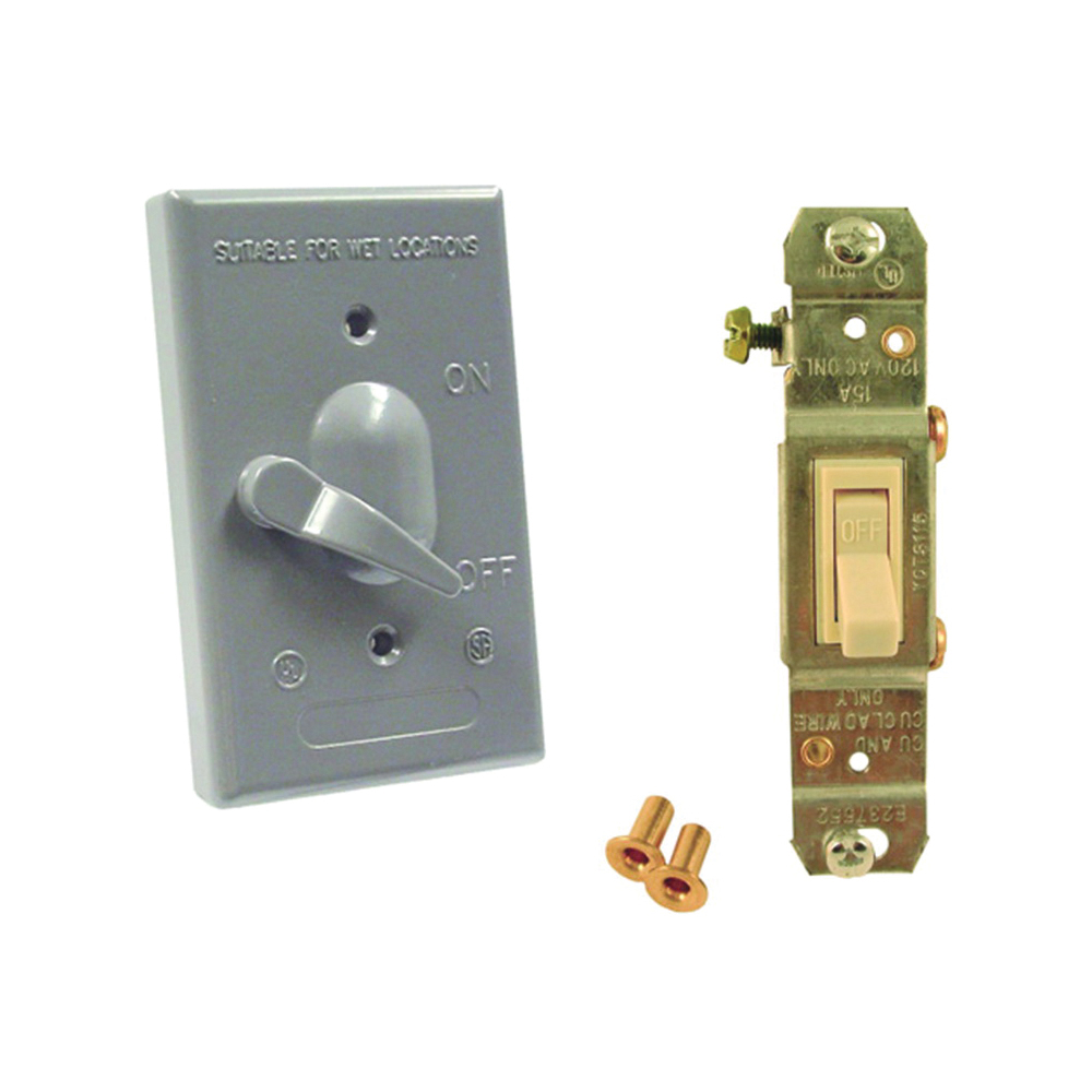 Picture of HUBBELL 5141-0 Toggle Cover, 4-39/64 in L, 2-53/64 in W, Metal, Gray, Powder-Coated