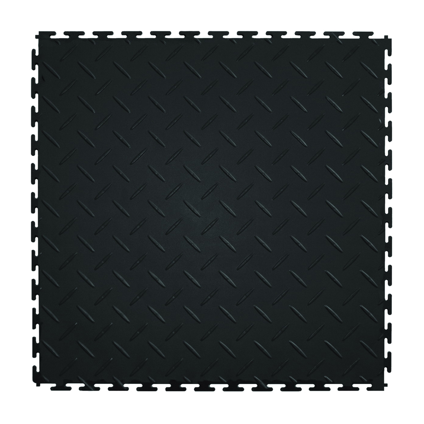 Picture of PERFECTION FLOOR TILE Diamond Plate ITDP450BK45 Floor Tile, 20-1/2 in L Tile, 20-1/2 in W Tile, Checker Plate Pattern