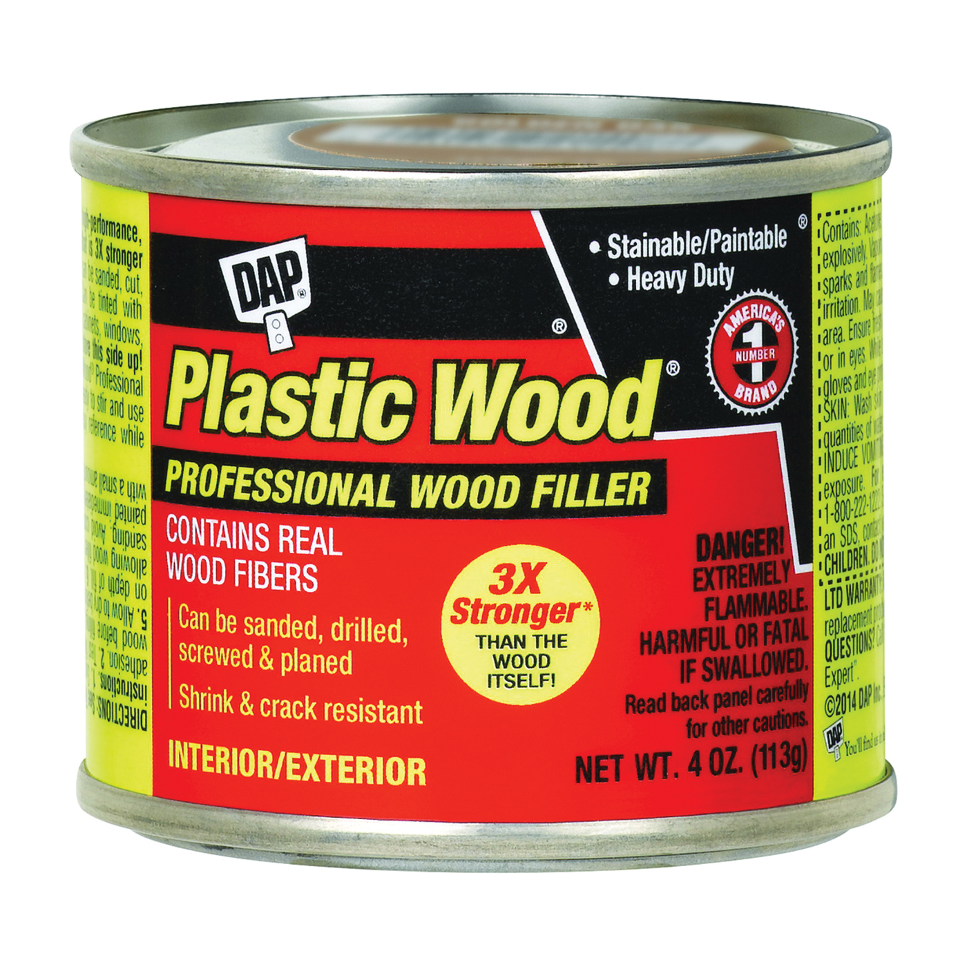Picture of DAP Plastic Wood 21412 Wood Filler, Paste, Strong Solvent, White, 4 oz Package