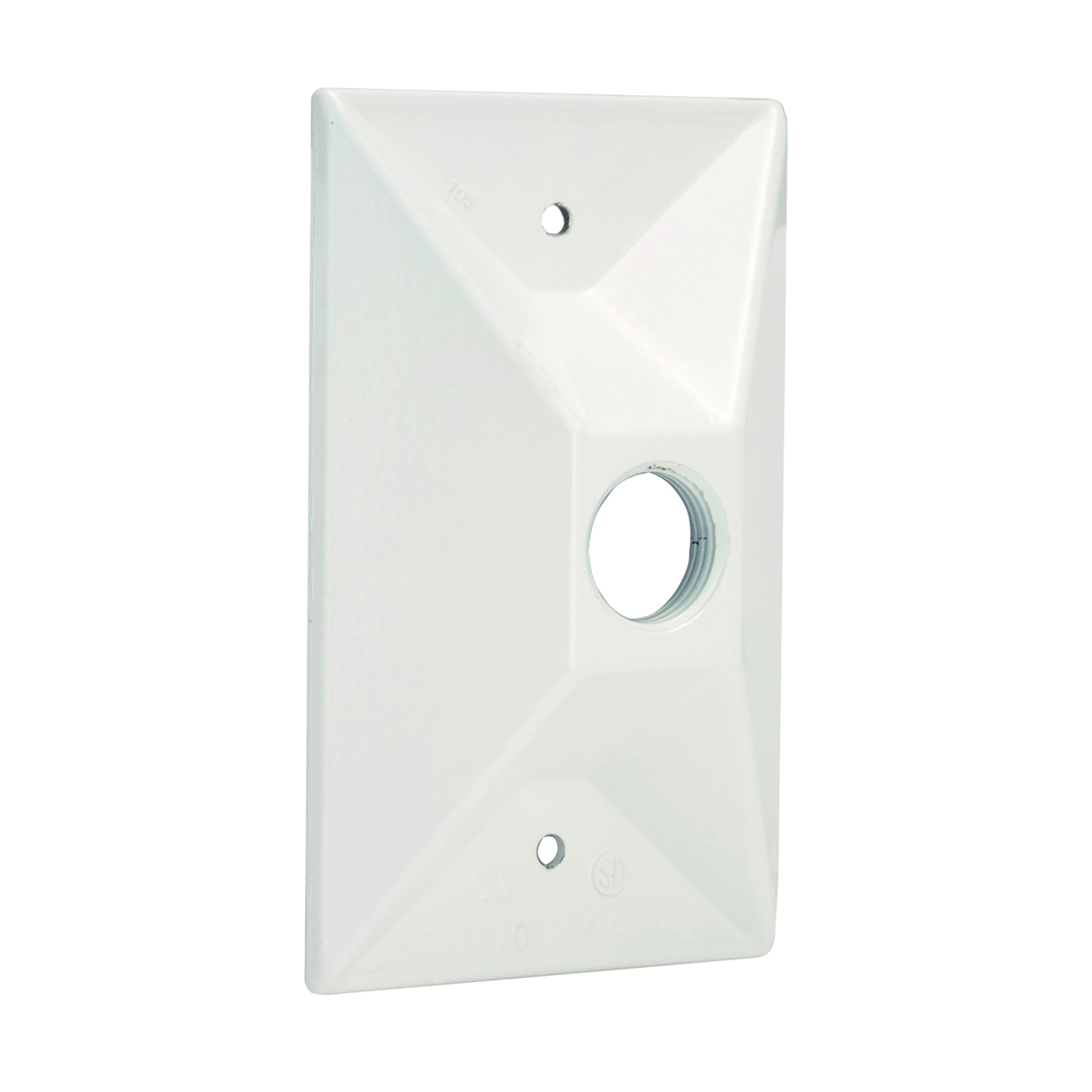 Picture of HUBBELL 5186-6 Cluster Cover, 4-19/32 in L, 2-27/32 in W, Rectangular, Zinc, White, Powder-Coated