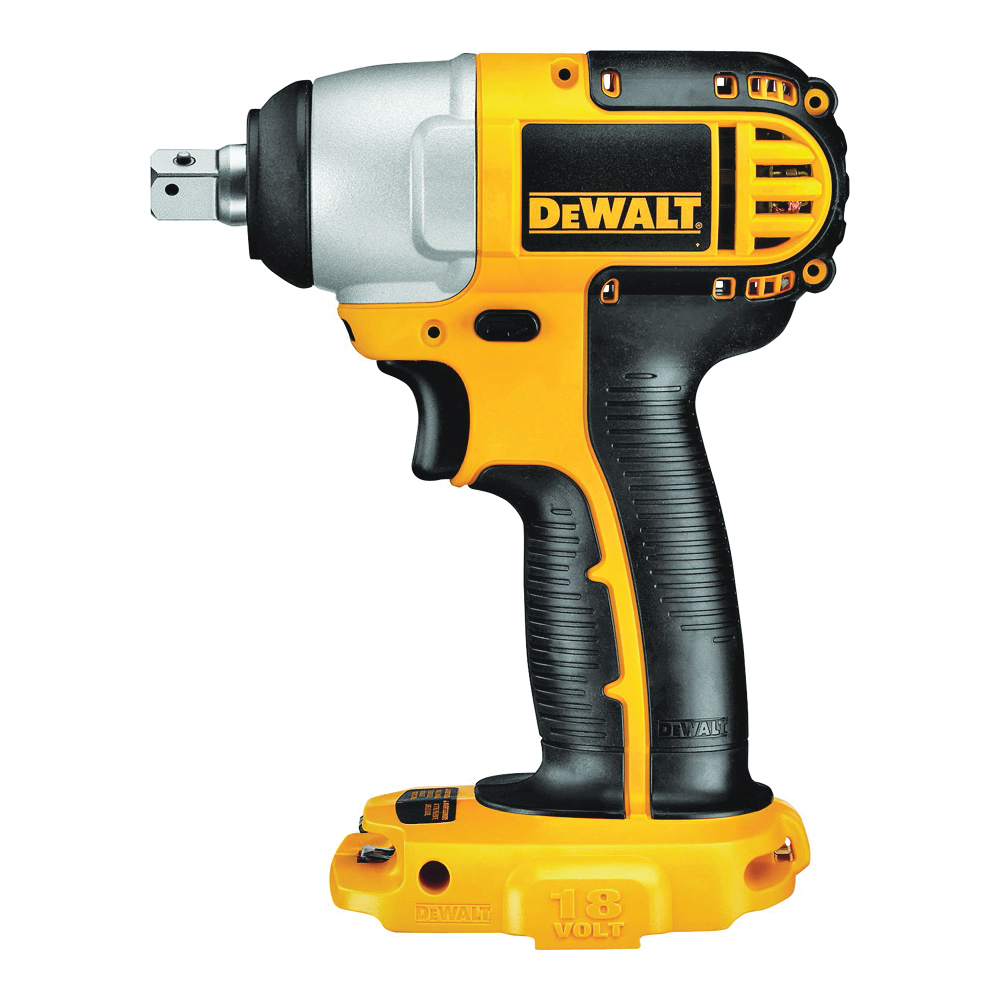 Picture of DeWALT DC820B Impact Wrench, Bare Tool, 18 V Battery, 1/2 in Drive, Square Drive, 1740 in-lb, 0 to 2400 rpm Speed