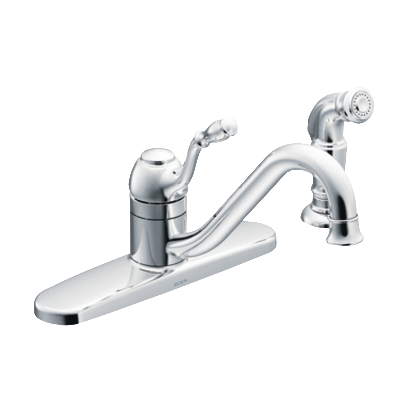 Picture of Moen Lindley CA87009 Kitchen Faucet, 1.5 gpm, 1-Faucet Handle, Stainless Steel, Chrome, Deck Mounting