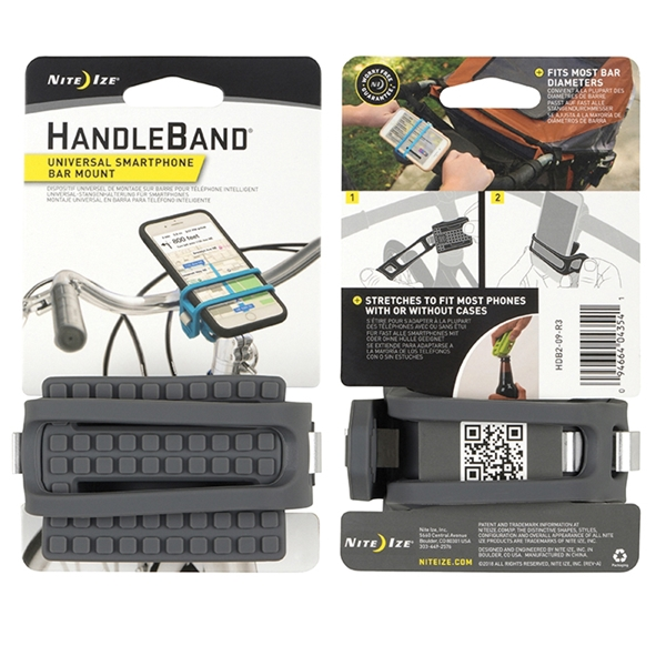 Picture of Nite Ize HandleBand HDB2-09-R3 Smartphone Bar Mount, Silicone, Charcoal