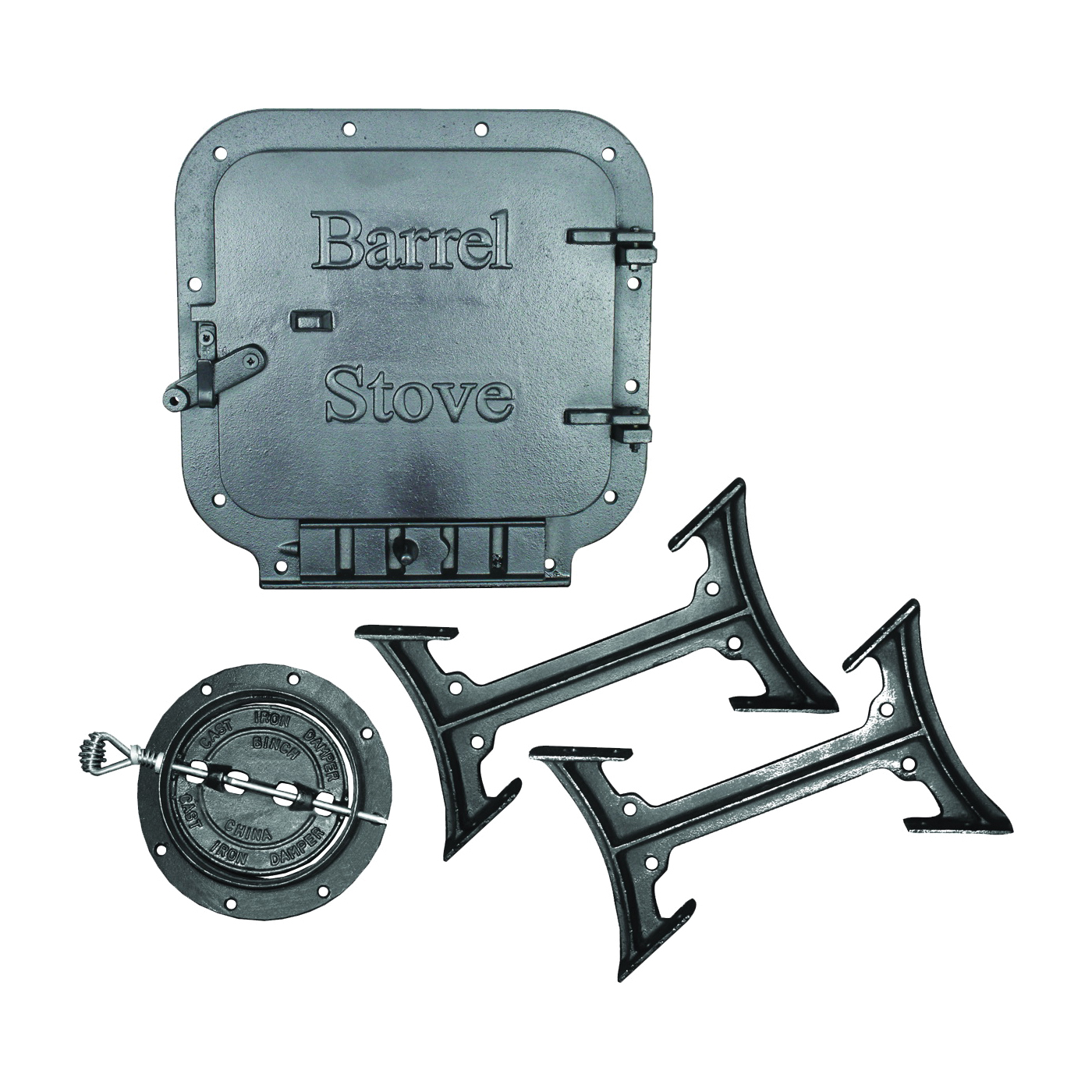 Picture of US STOVE BK100E/BSK1000 Barrel Stove Kit, Iron, For: 30 or 55 gal Barrel Drums, 2-Piece