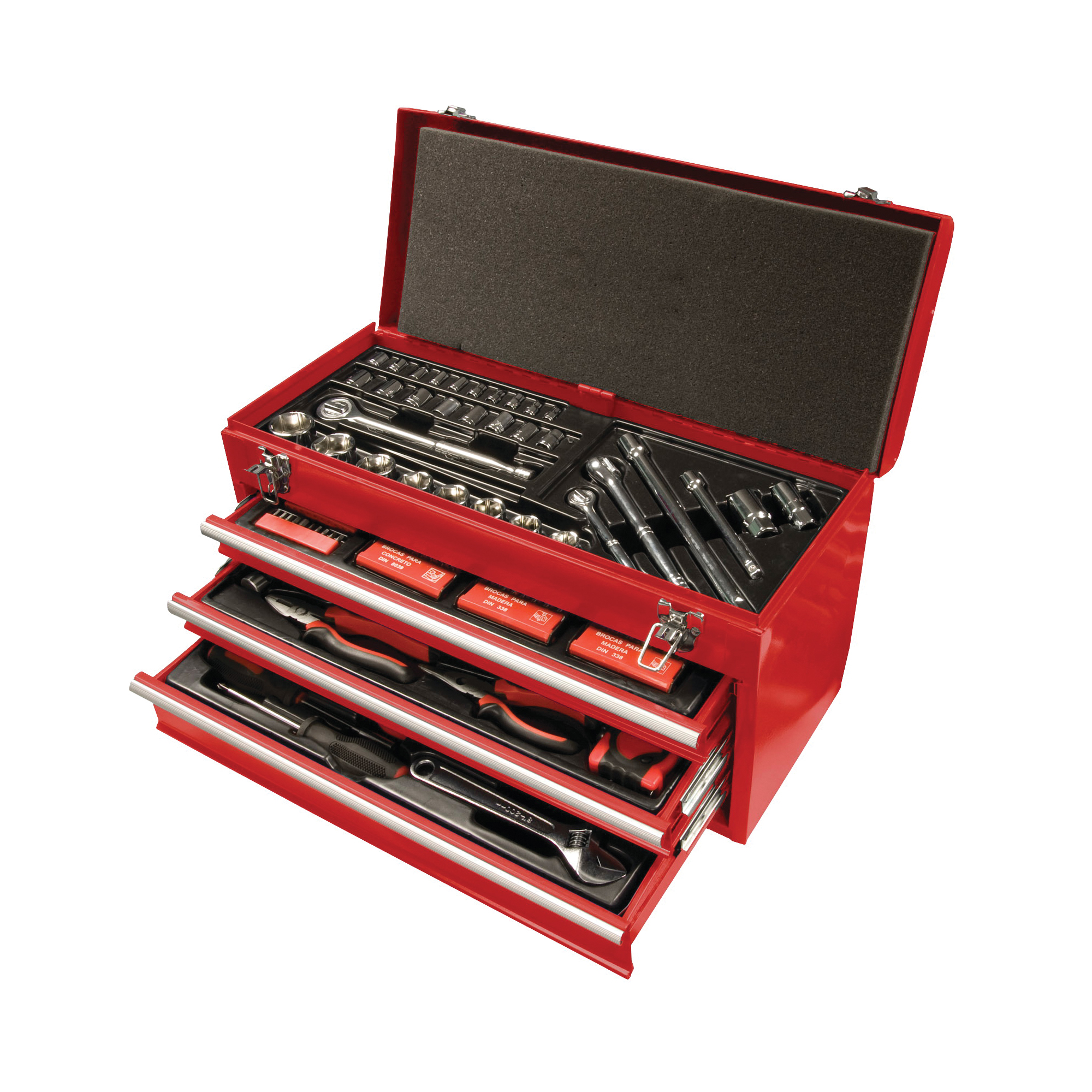Picture of Speedway 8836 Tool Chest with Bonus Tool Set, 60 lb, 23-1/2 in OAW, 13.8 in OAH, 11.6 in OAD, Steel, Red
