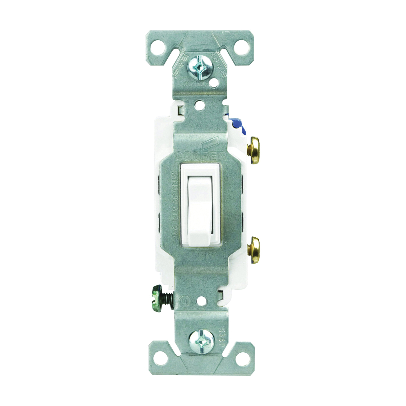 Picture of Eaton Wiring Devices C1301-7LTW Toggle Switch, 15 A, 120 V, Polycarbonate Housing Material, White