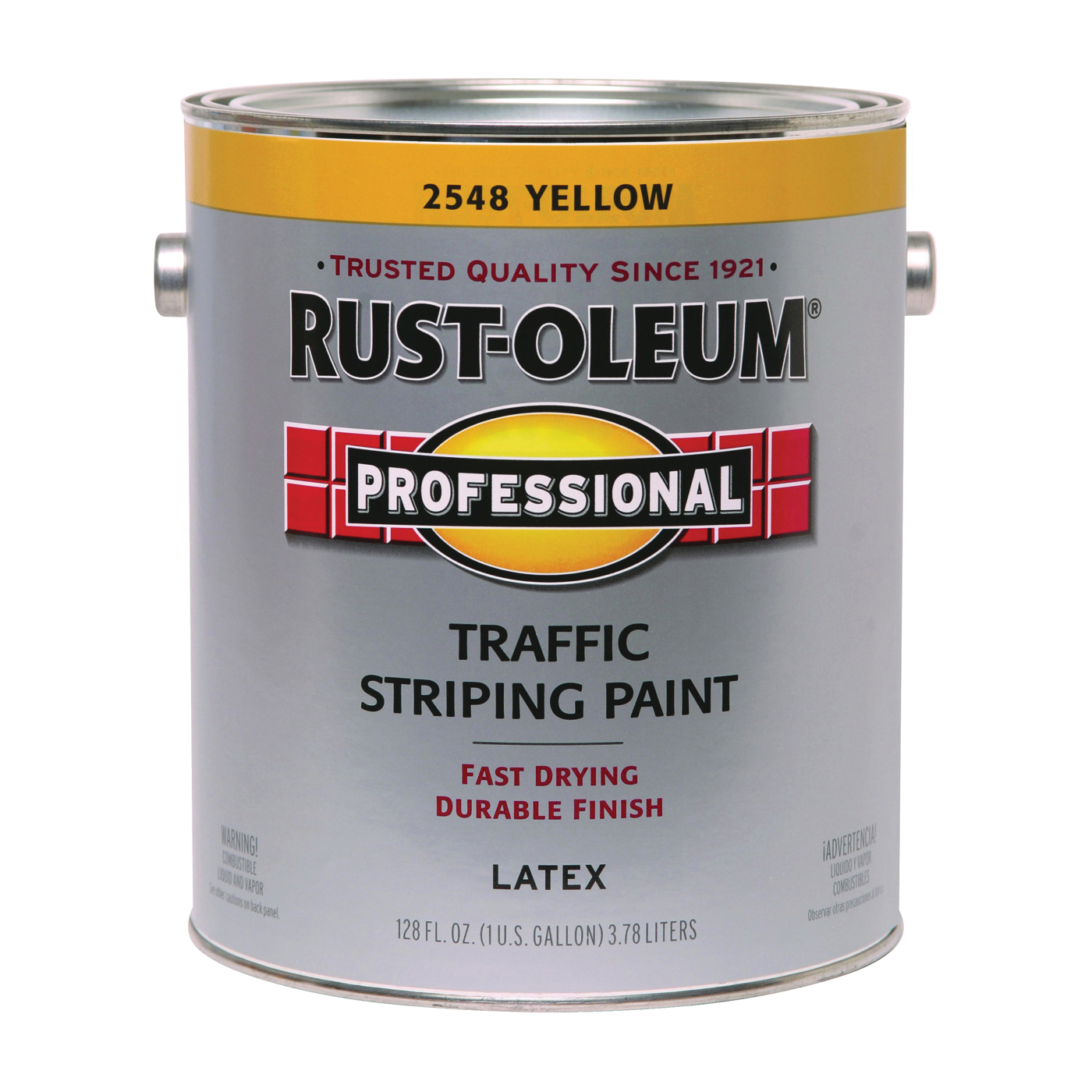 Picture of RUST-OLEUM PROFESSIONAL 2548402 Traffic Striping Paint, Flat, Traffic Yellow, 1 gal, Pail