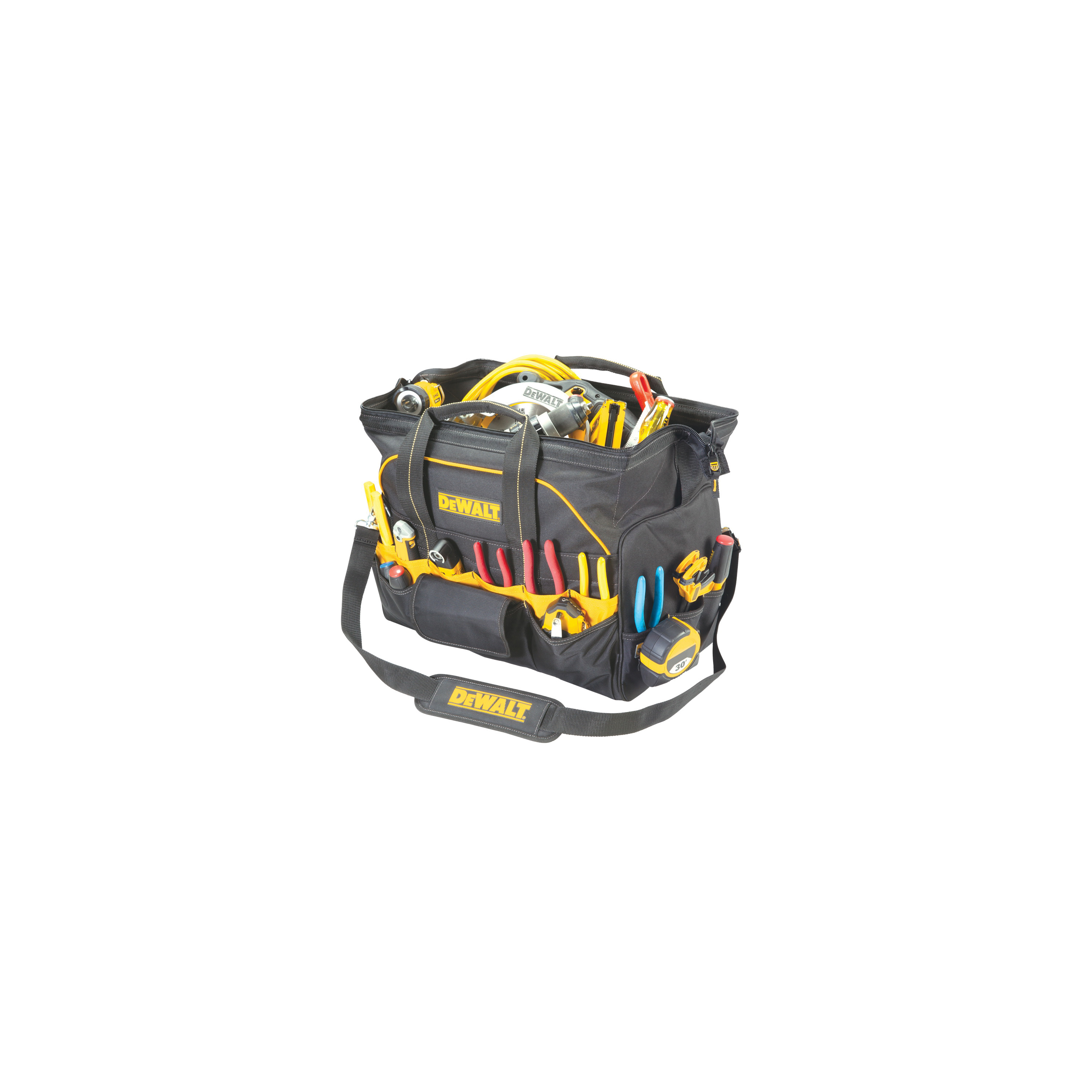 Picture of CLC DG5553 Tool Bag, 3-1/4 in W, 21-1/2 in D, 18-3/4 in H, 42 -Pocket, Ballistic Poly Fabric, Black/Yellow