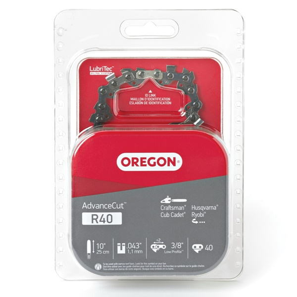 Picture of Oregon AdvanceCut R40 Saw Chain, 10 in L Bar, 0.043 Gauge, 3/8 in TPI/Pitch, 40 -Link