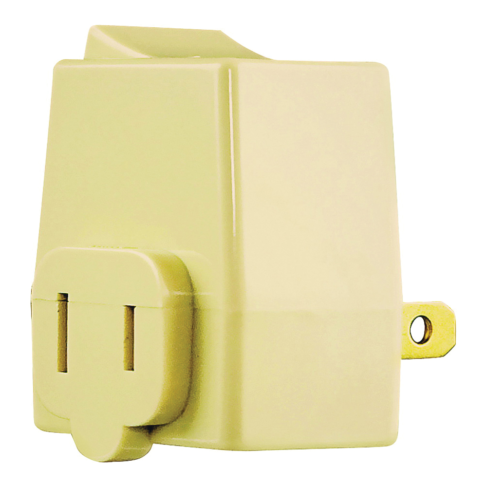 Picture of Eaton Cooper Wiring BP4404V Plug-In Switch, 2-Pole, 15 A, 120 V, 1-Outlet, Ivory