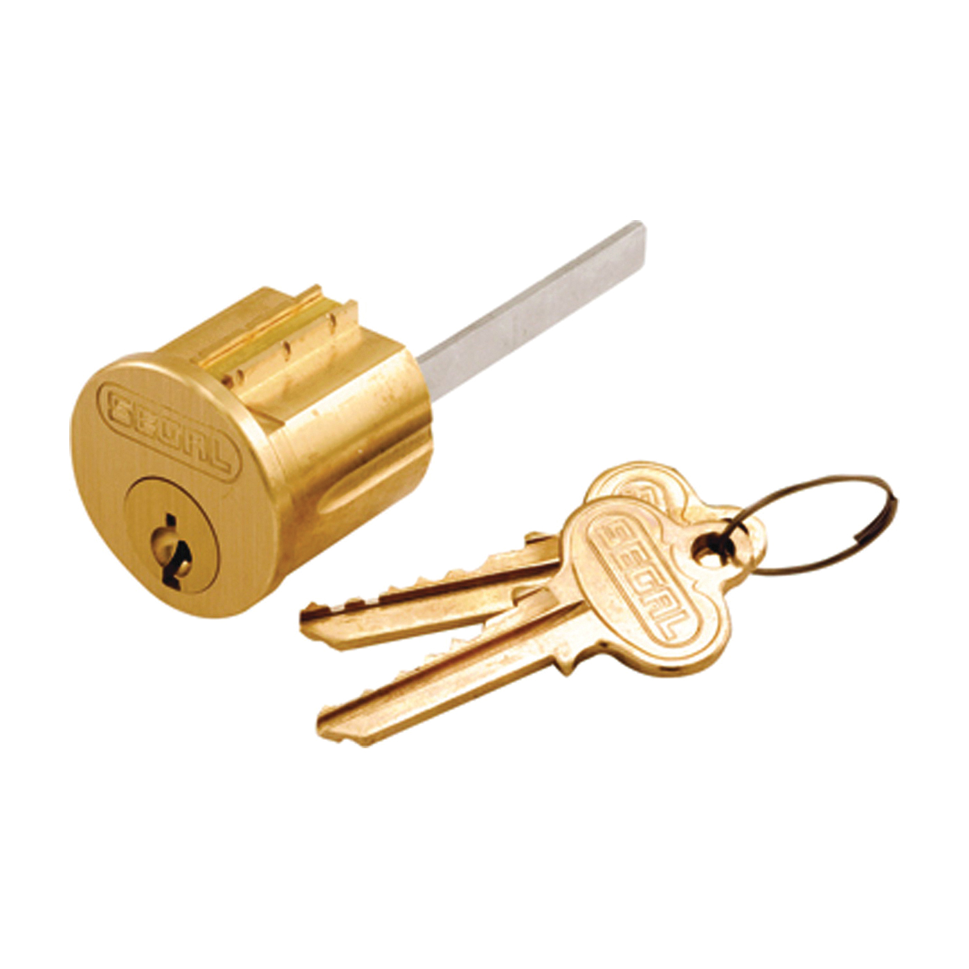 Picture of Prime-Line SE 70002 Lock Cylinder, Keyed Different Key, Brass, Brushed Brass, Segal Keyway
